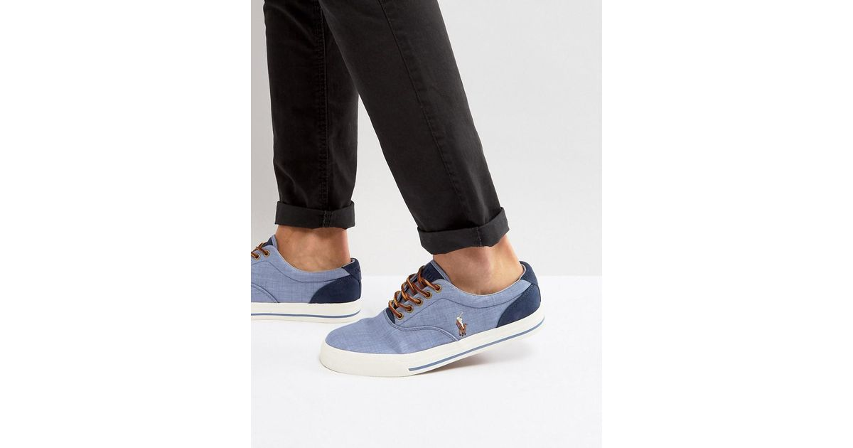 e2eea50fbb4 Polo Ralph Lauren Vaughn Trainers Canvas Multi Player In Light Blue in Blue  for Men - Lyst
