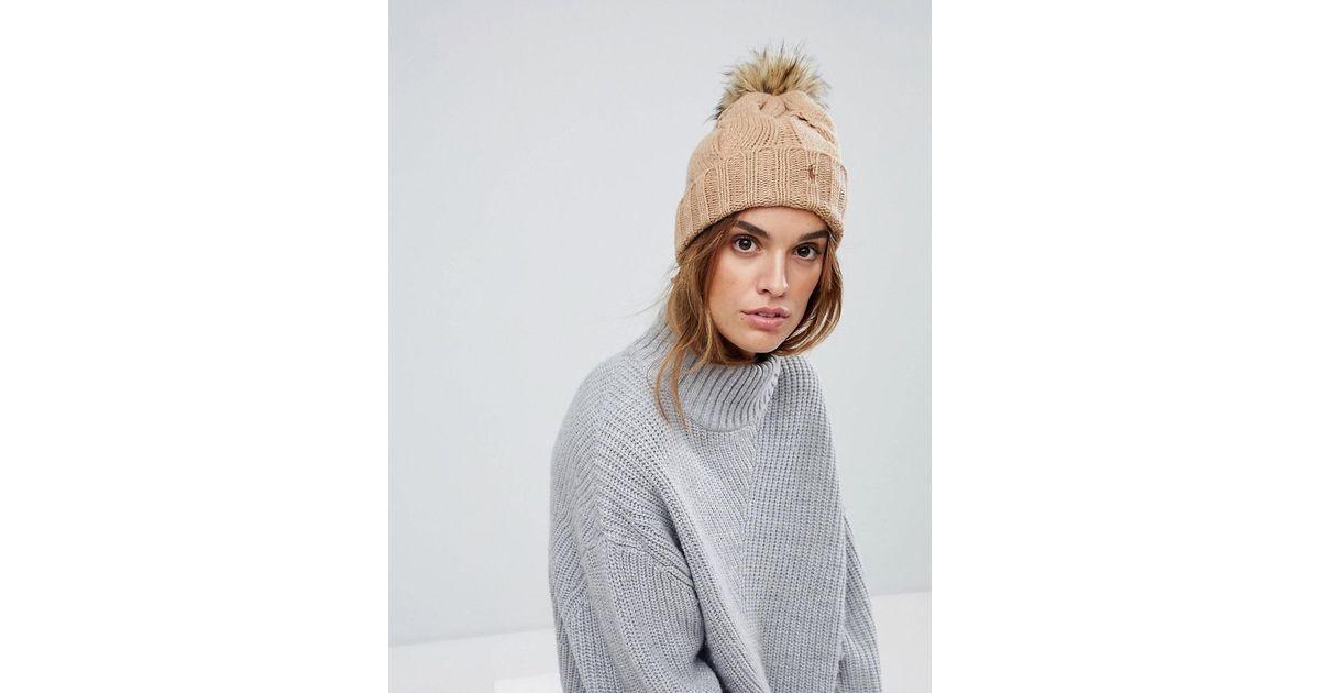 56c716ad018 Polo Ralph Lauren Cable Knit Cashmere Mix Hat With Faux Fur Pompom - Lyst