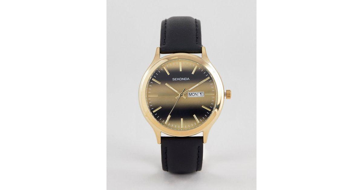nouvelle arrivee 68c59 af94e Montre bracelet en cuir et cadran tigres exclusivit ASOS Sekonda pour homme  en coloris Black