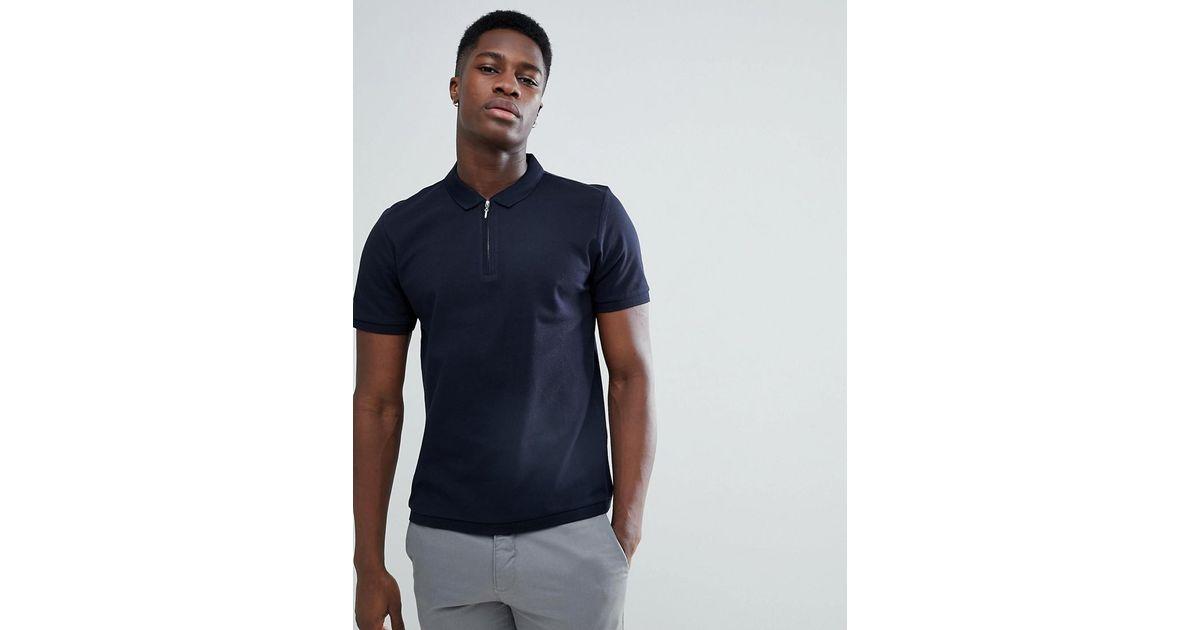 030457bf83 Jack & Jones Blue Premium Polo Shirt With Zip Neck for men