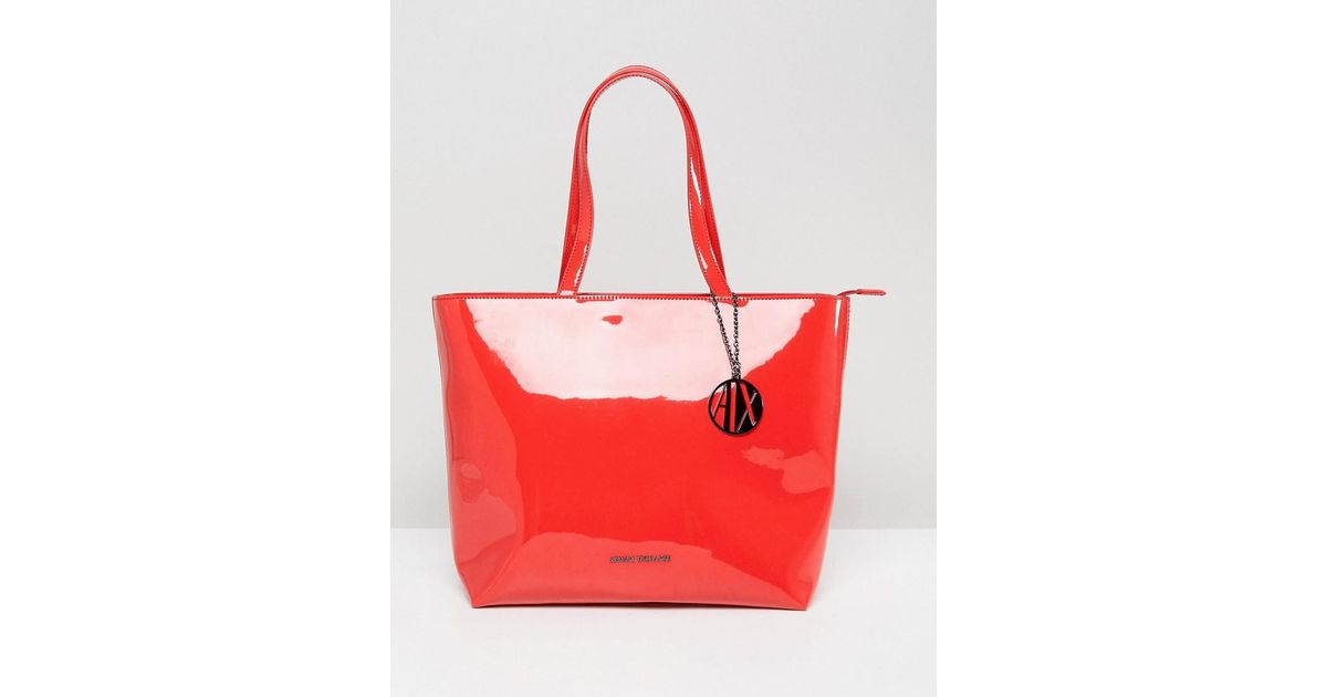 Armani Exchange Smooth Red Tote Bag in Red - Lyst ecc54de0f788e