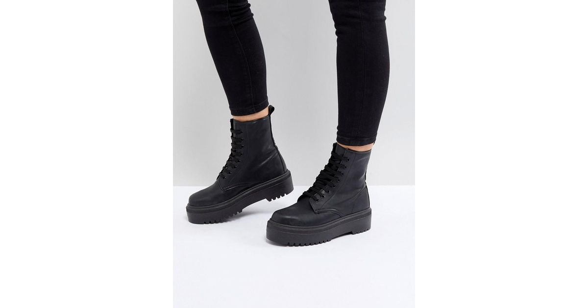 abc1e94b1f3 ASOS Black Attitude Wide Fit Chunky Lace Up Boots