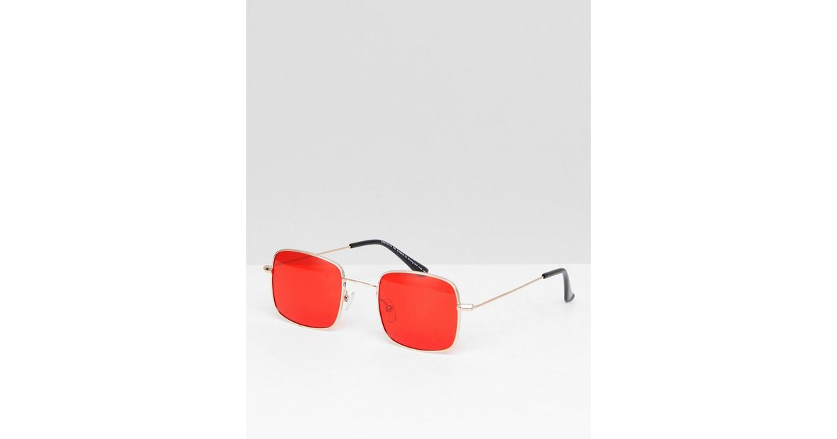 459f3397fce2 Lyst - ASOS Metal Square Fashion Sunglasses In Gold With Red Colored Lens  in Metallic