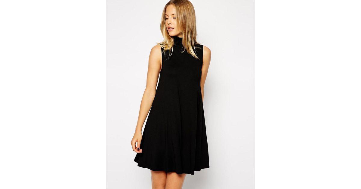 7a1e8c06531 ASOS Asos Sleeveless Swing Dress With Polo Neck in Black - Lyst