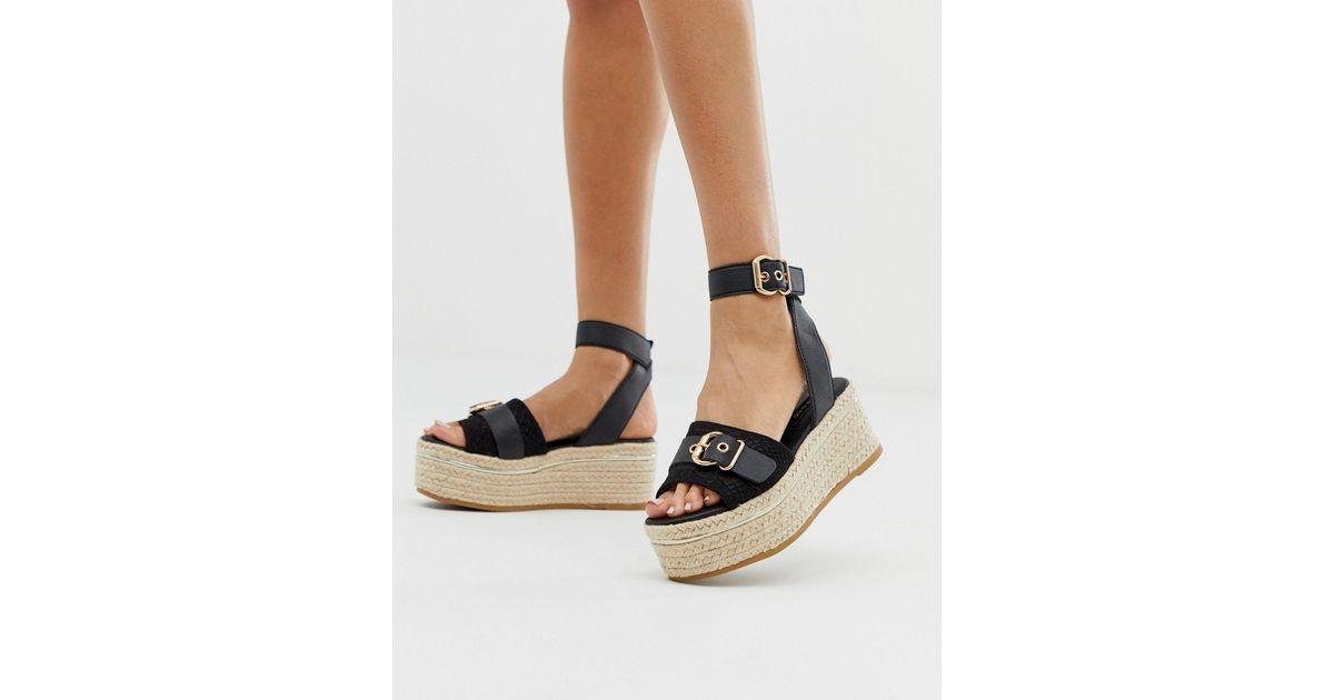 Flatform Espadrille Sandals With Buckle