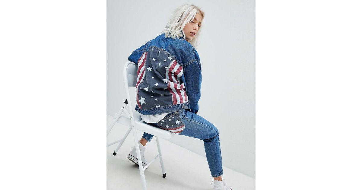 0797d75936f7 Lyst - Pull Bear Usa Flag Oversized Denim Jacket in Blue