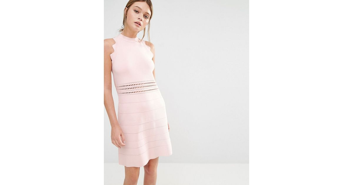 0394235362 Ted Baker Natleah Knitted Mini Dress in Pink - Lyst