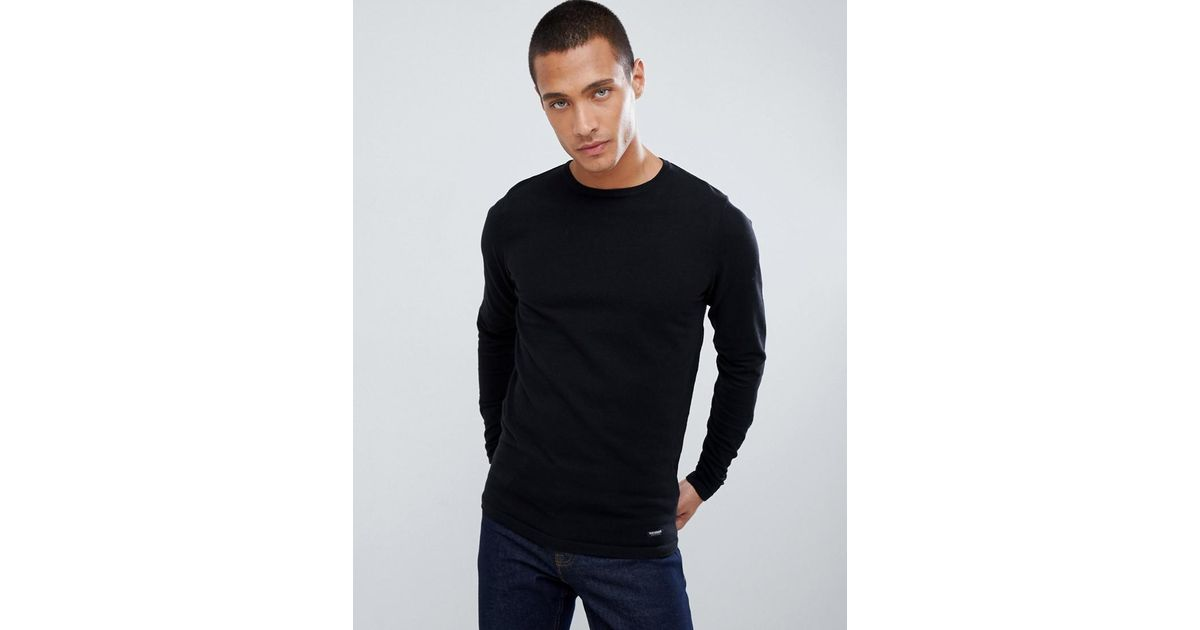 c5fd1c7fa482dd Threadbare Basic Cotton Crew Neck Jumper in Black for Men - Lyst