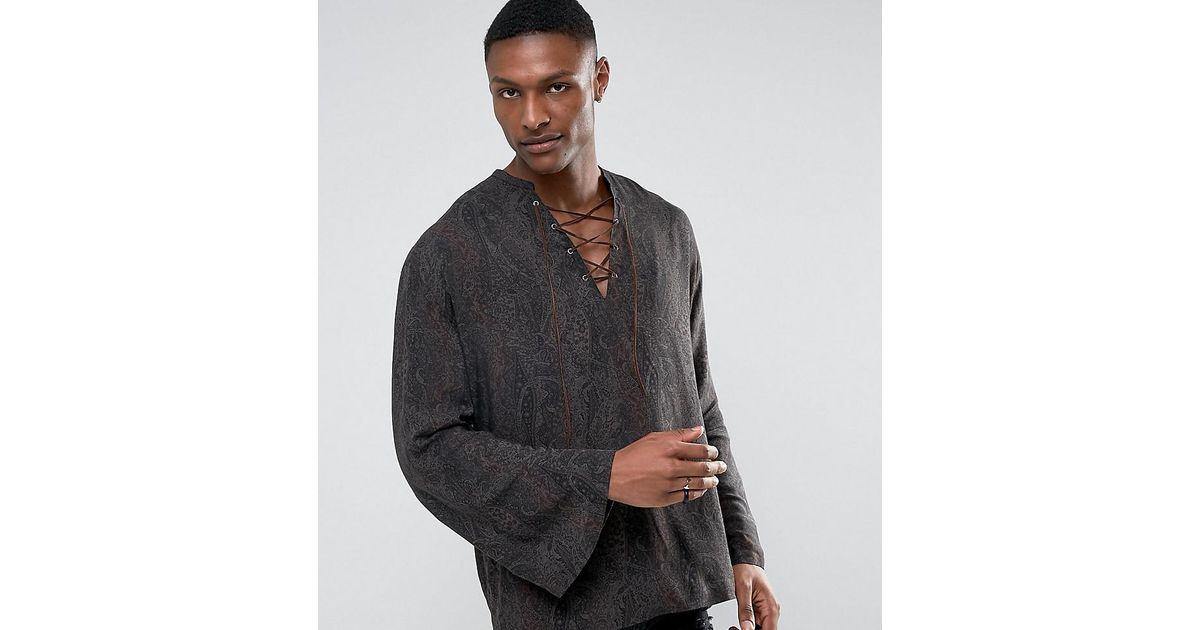 04238cd0d3e Lyst - ASOS Tall Regular Fit Viscose Paisley Lattice Shirt With Bell  Sleeves in Brown for Men