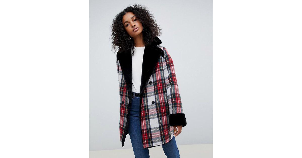 1c16233cc208 Lyst - ASOS Reversible Faux Fur And Check Bonded Jacket in Red