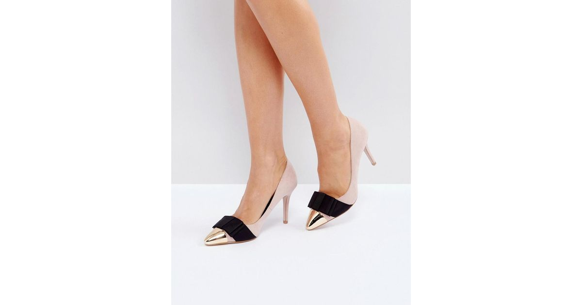 Miss Kg Alyssa Nude Bow Court Shoes in Beige (Natural) - Lyst