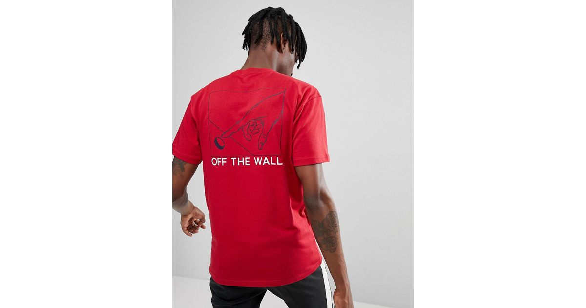 af4404e74d Vans Button Pusher T-shirt With Back Print In Red Va36uecar for men