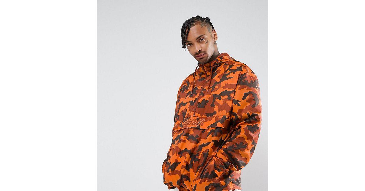 info for buy best exclusive deals PUMA Pullover Windbreaker In Camo Print In Orange Exclusive To Asos  57663602 for men