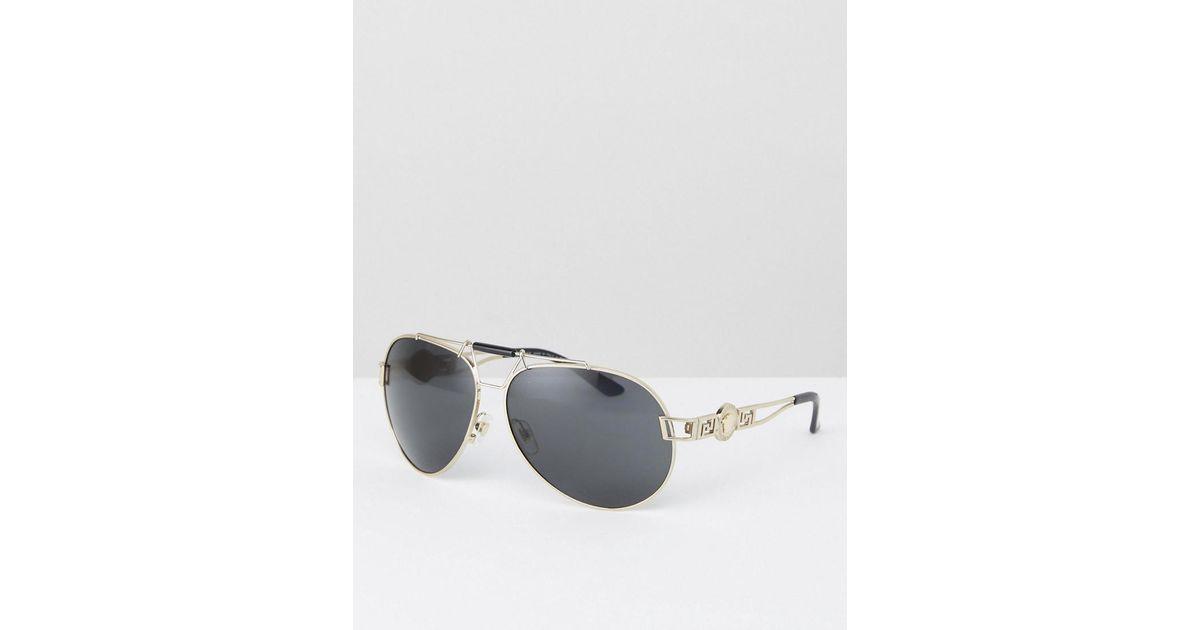 fb3ded72bf Versace Aviator Sunglasses With Side Medusa in Black for Men - Lyst