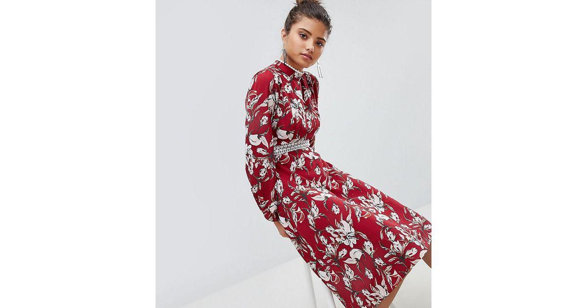 Boohoo Red Exclusive Lace Trim Open Back Midi Dress