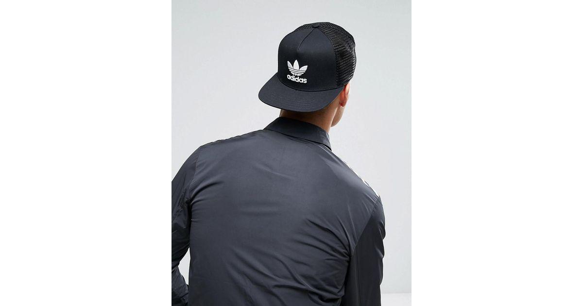 43abec61 adidas Originals Trefoil Trucker In Black Bk7308 in Black for Men - Lyst