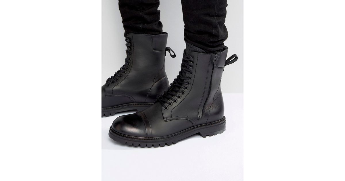 60cb91a94e1 Lyst - BOSS Orange By Hugo Boss Tonkin Military Lace Up Boots in Black for  Men
