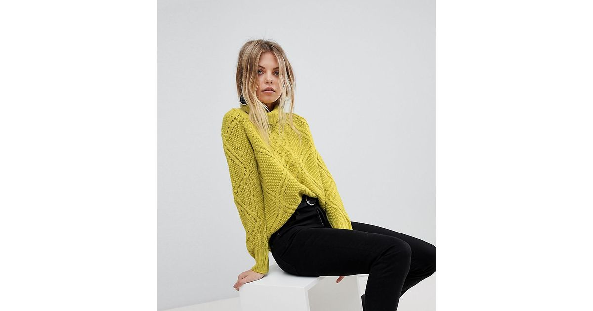ed7348565104 Oasis Cable Knit Roll Neck Jumper in Green - Lyst