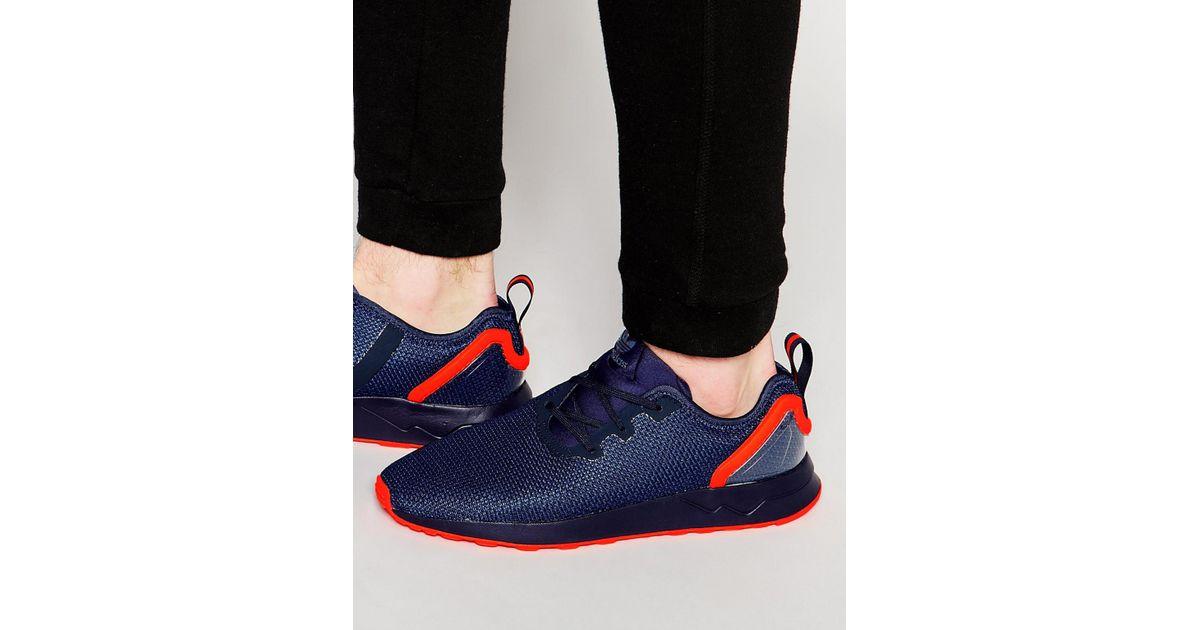 buy popular 99b6e 90359 Adidas Originals Blue Asymmetrical Zx Flux Trainers Aq3167 for men