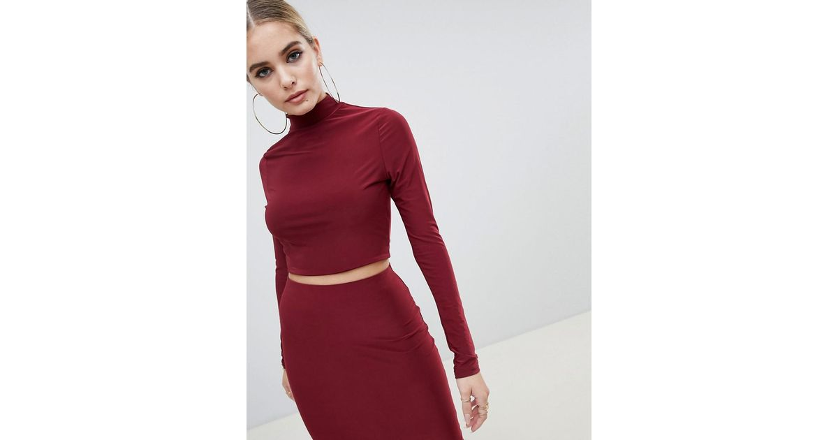 6f880b4c207ea Lyst - Fashionkilla High Neck Crop Top Two-piece In Berry in Red