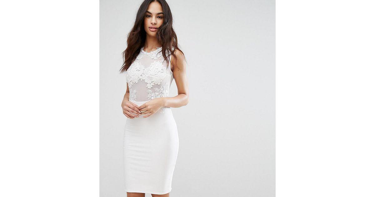Lyst club l lace applique mesh midi dress in white