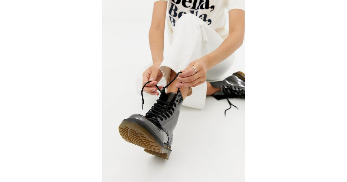 dr martens 1460 silver chrome flat ankle boots