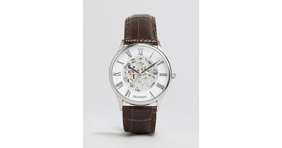 eb3e0838b38 Sekonda Exposed Mechanical Skeleton Leather Watch In Brown Exclusive To Asos  in Brown for Men - Lyst