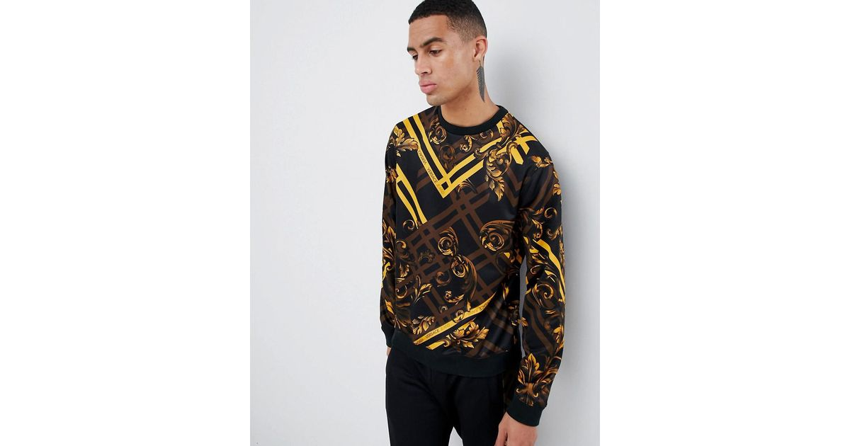 6d37bc8836 Versace Jeans Sweatshirt With Yellow Baroque Print for men