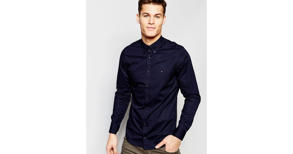 Lyst - Tommy Hilfiger Poplin Shirt With Stretch In Slim Fit In Navy in Blue  for Men d03317a53c41a