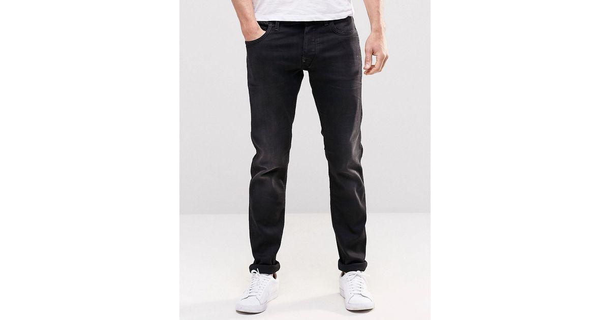 star raw g star jeans defend super slim dark aged in black for men. Black Bedroom Furniture Sets. Home Design Ideas