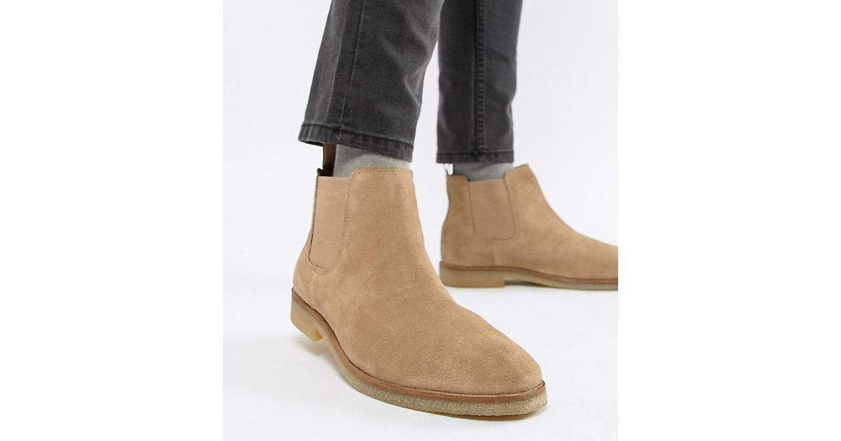 8cff75c503c9f ASOS Wide Fit Chelsea Boots In Stone Suede With Natural Sole in Natural for  Men - Lyst