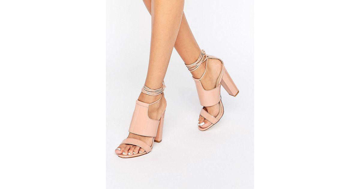 Missguided Tie Ankle Strap Block Heel In Pink Lyst