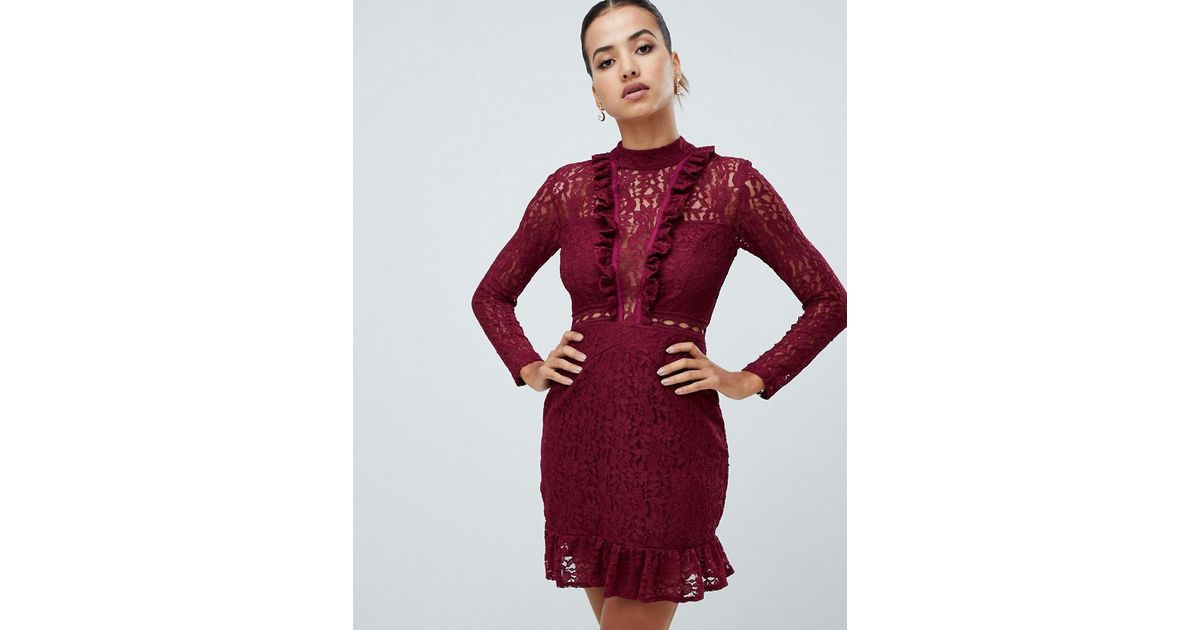 Ax Paris Purple Long Sleeve Lace Skater Dress