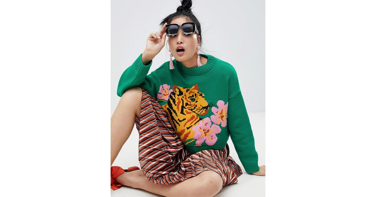 21a436e8 ASOS Tiger Jumper With Tropical Flower in Green - Lyst