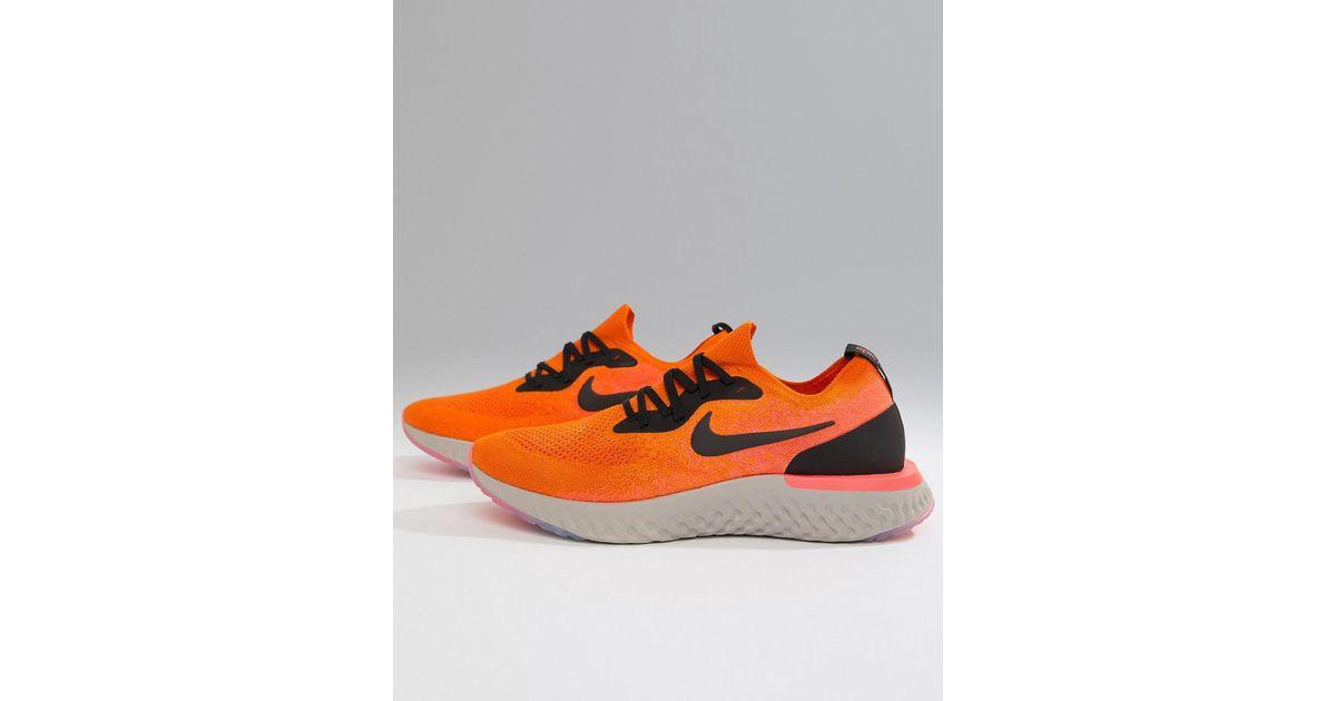a55d7c82a433 spain nike epic react flyknit sneakers in orange aq0067 800 in orange for men  lyst 0b6ca