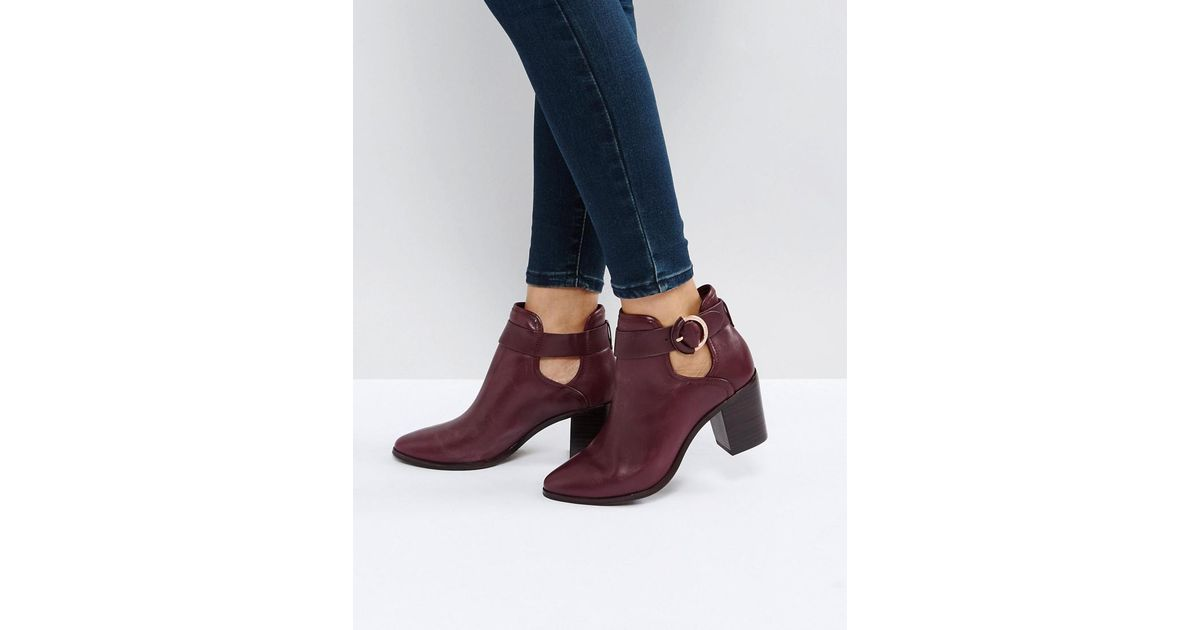 differently various styles rich and magnificent Ted Baker Red Sybell Burgundy Leather Heeled Ankle Boots
