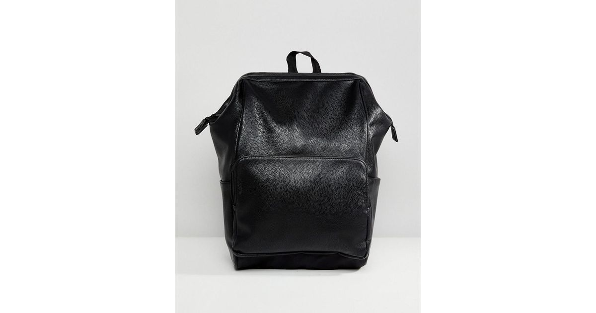 Affordable Backpack With In Faux Leather With Hinge Opening - Black Asos Discount In China Choice For Sale Limited Edition Cheap Price For Cheap Price iEvxG