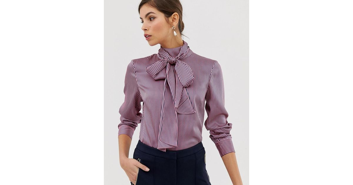 923bb898d7227 Lyst - Ted Baker Leynta Pussybow Striped Blouse in Pink - Save 11%