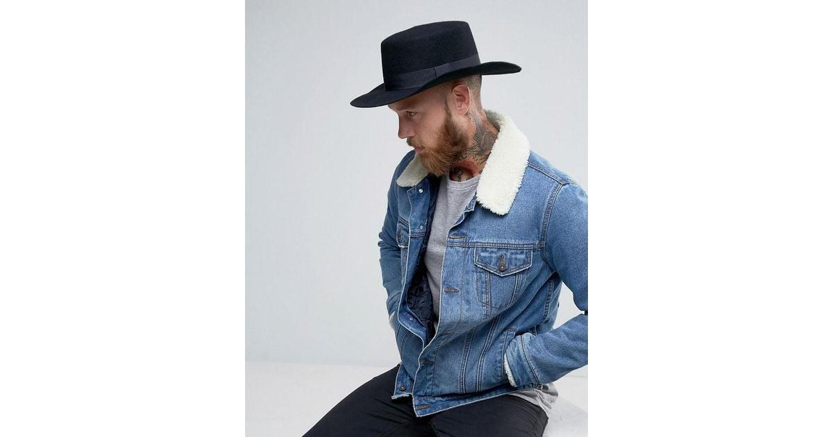 Lyst Asos Flat Top Hat In Black Felt With Wide Brim For Men d7ea79bce50