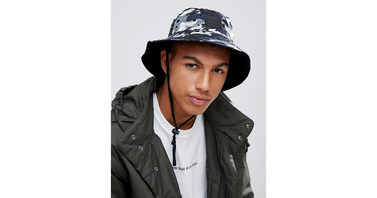 ef9562ceecf ASOS Safari Bucket Hat In Navy Camo in Blue for Men - Lyst