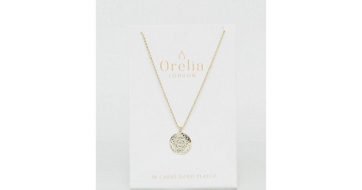 Lyst orelia gold disc pendant necklace in metallic aloadofball Images