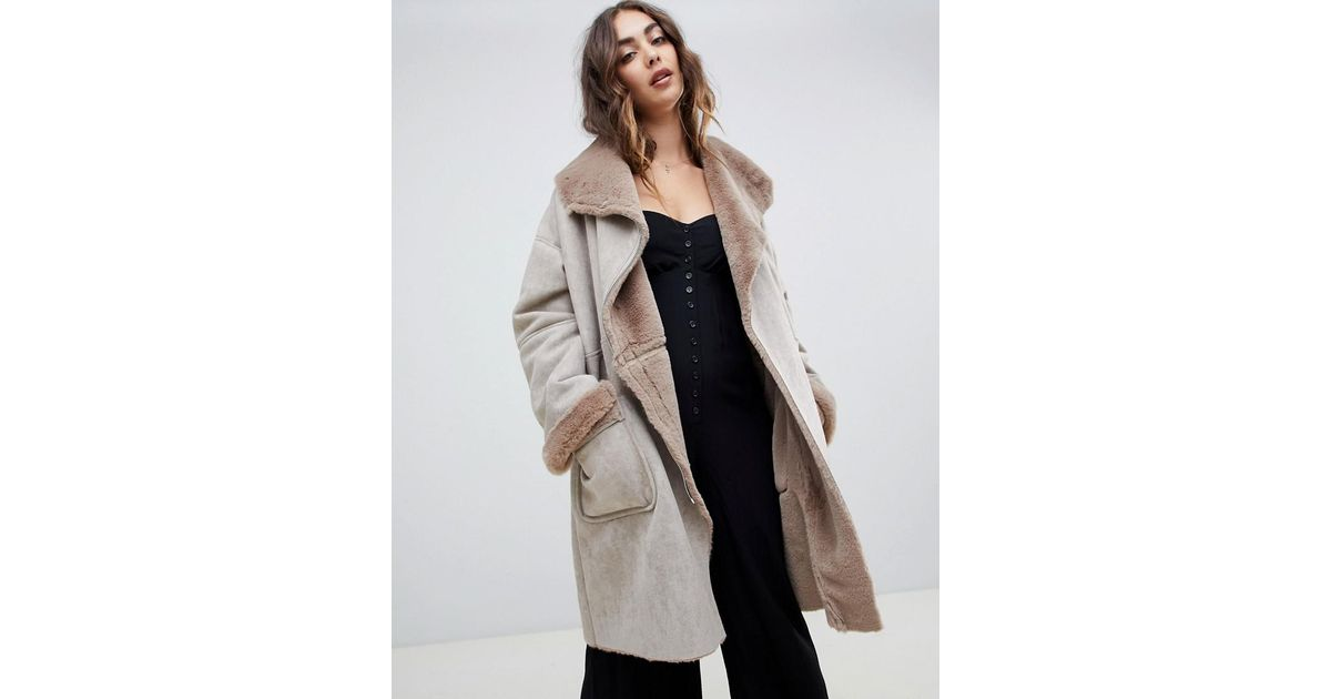 0fc648db2 Religion Natural Oversized Aviator Jacket With Faux Fur Collar