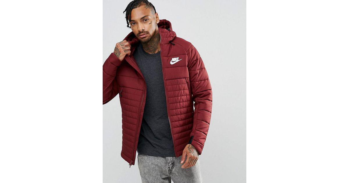 brand new unique design super cheap Nike Av15 Padded Jacket With Hood In Red 861782-619 for men