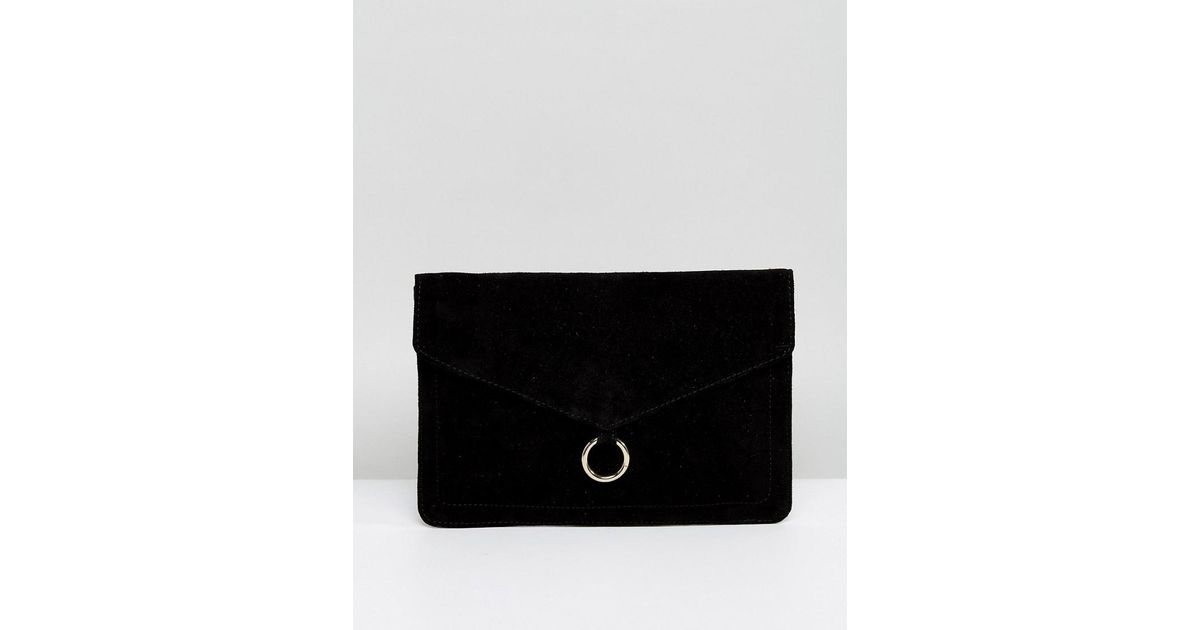 3a62d9cf6b233 ASOS Suede Envelope Clutch Bag With Ring Detail in Black - Lyst