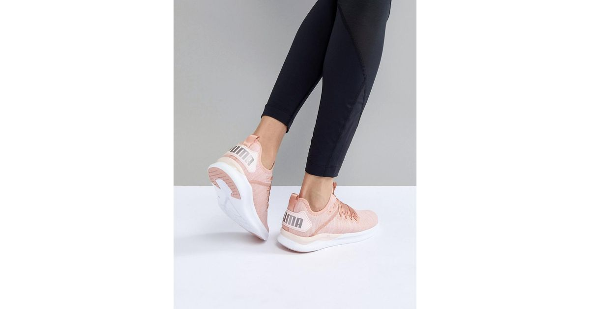 676ef4fb99bbb8 Lyst - PUMA Running Ignite Flash Evoknit Satin Trainers In Dusky Pink in  Pink