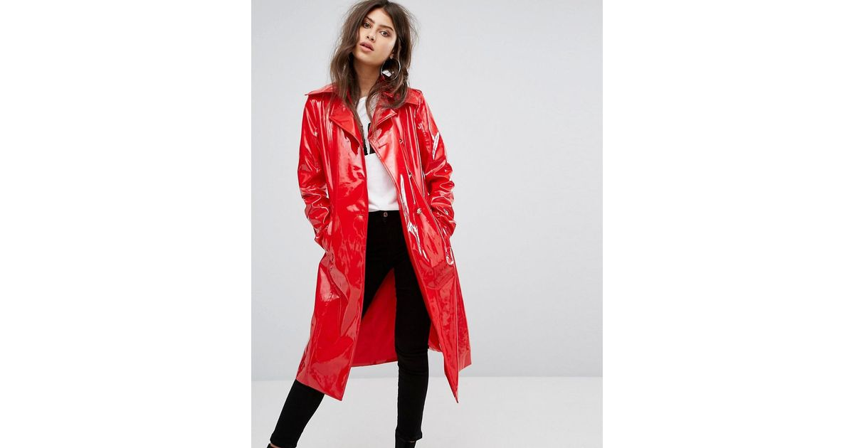 Lyst Prettylittlething Vinyl Trench Coat In Red