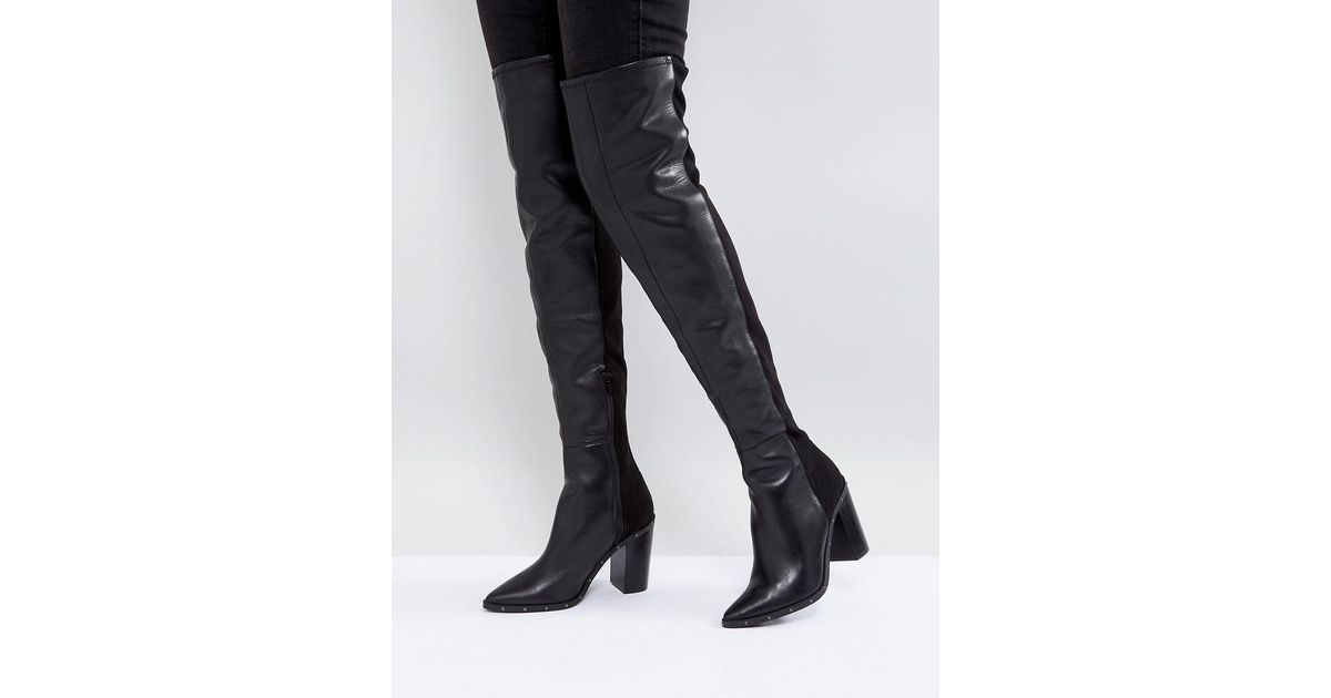 04170383aa6 ALDO Black Thirassa Leather Studded Over The Knee Boots