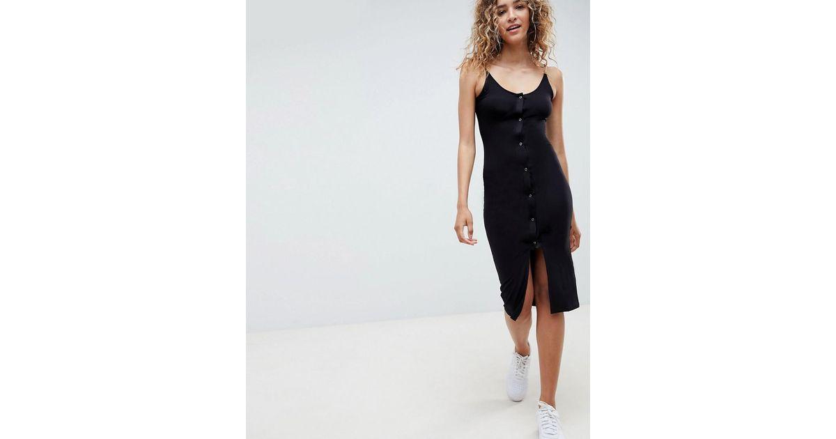 38781365c3 ASOS Popper Front Scoop Neck Midi Dress in Black - Lyst