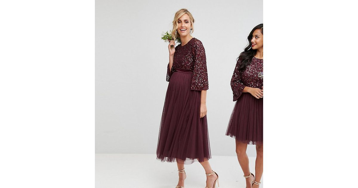e866730f713 Maya Maternity Bell Sleeve Midi Dress In Tonal Delicate Sequin With Tulle  Skirt And Kimono Sleeve in Red - Lyst