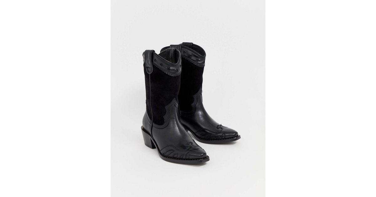 207689949d9 Buffalo London Gerda Western Cowboy Boots In Black